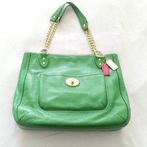 Rare Vintage Kelly Green Pebbled Leather Satchel